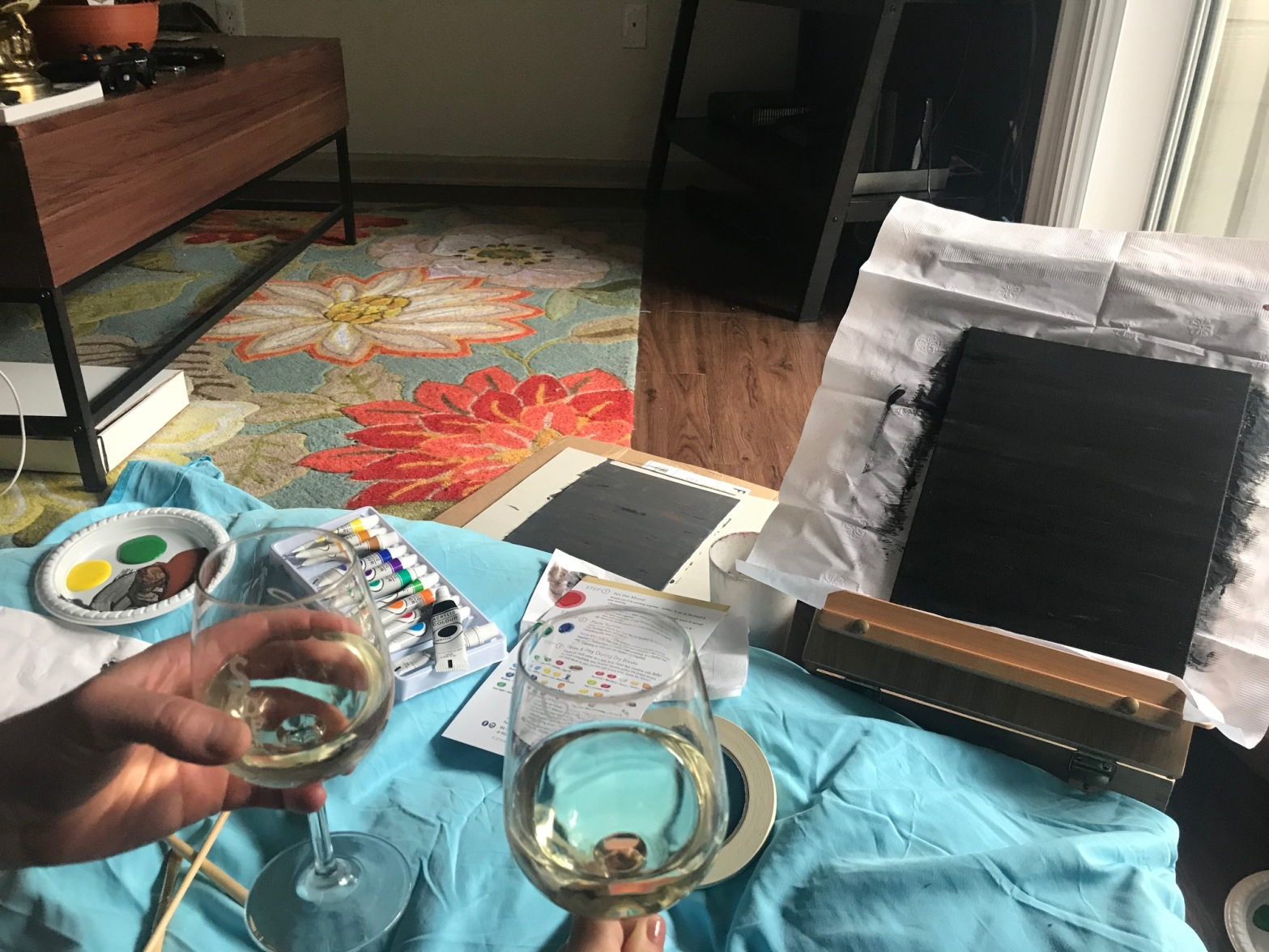 Sip wine and paint at home date day during Covid